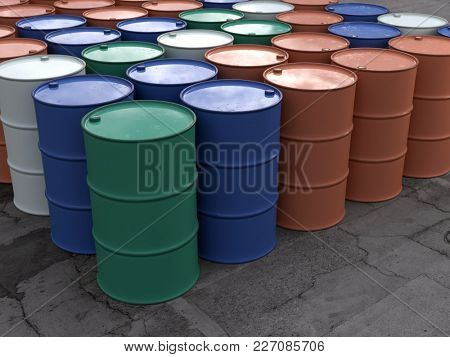 metal barrels in storage, 3d illustration