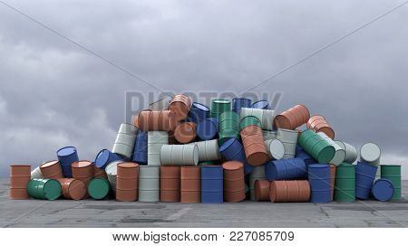 metal barrel heap, 3d illustration