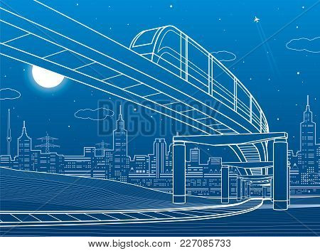 Monorail Railway. Transportation Illustration. Skyline, Modern City, Business Buildings At Backgroun