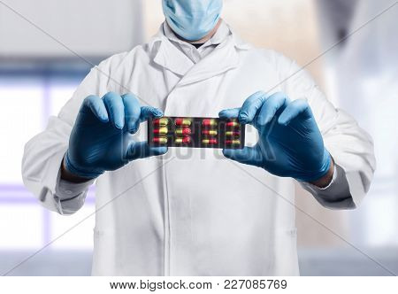 Photo Of A Lab Assistant In Outfit Holding A Pills Blister.