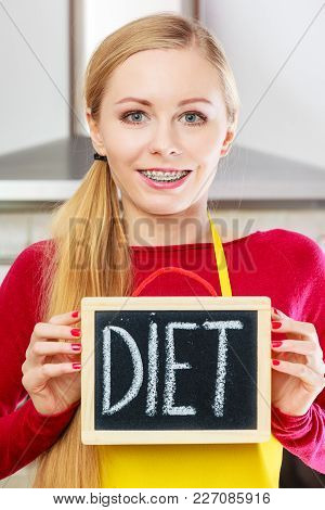 Dieting And Detoxing, Weight Loss Concept. Happy Woman Holding Board With Detox Sign