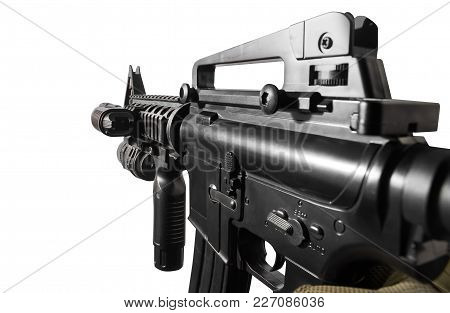 Closeup Vr First Person View Of A Soldier Hand Holding Automatic Rifle Side View.