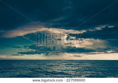 Beautiful Seascape Evening Sea Horizon And Sky. Tranquil Scene. Natural Composition Of Nature. Lands