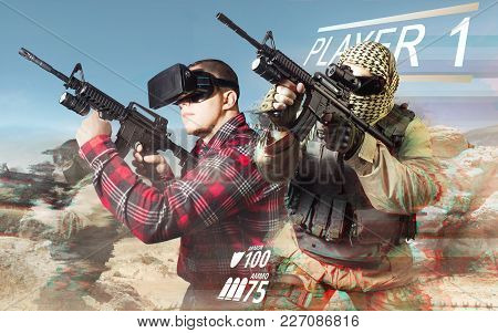 Vr Gamer Playing War Game And Aiming Automatic Rifle With Fully Equipped Soldiers On Desert Backgrou