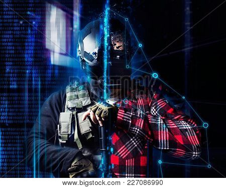 Swat Soldier Standing With Automatic Rifle With A Vr Player In Helmet On Neon Futuristic Background.