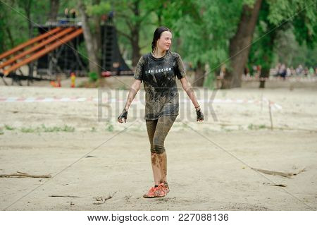 Women Overcame The Watery Mud Barrier During The  Legion  Run Race Held In Kiev