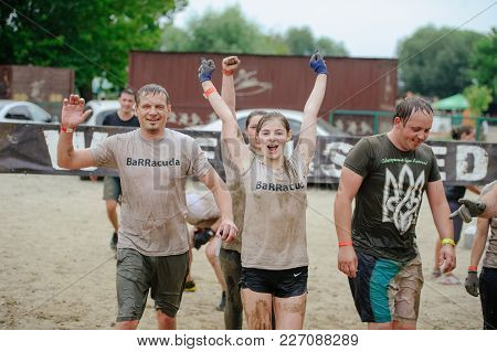 Women And Men At The Finish Line During The Race To Survive On Legion Run, Held In Kiev