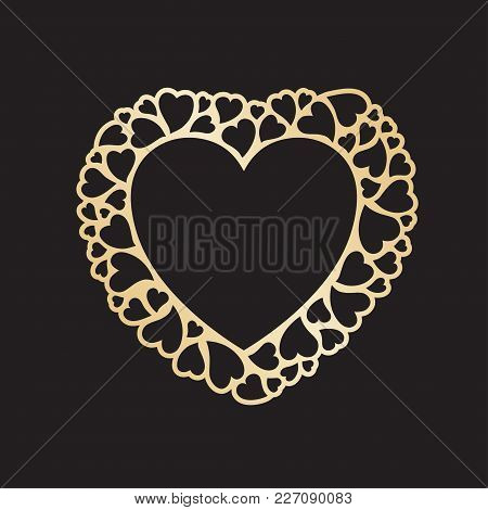 Openwork valentine card with small hearts. Laser cutting vector template suitable for greeting cards, envelopes, invitations, interior decorative elements. poster