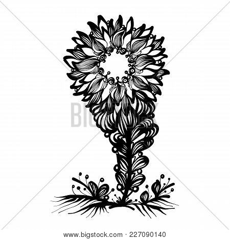 Hand-drawn Abstract Flower In Doodle Art Style. Black And White Decoration For Cards, Wedding Invita