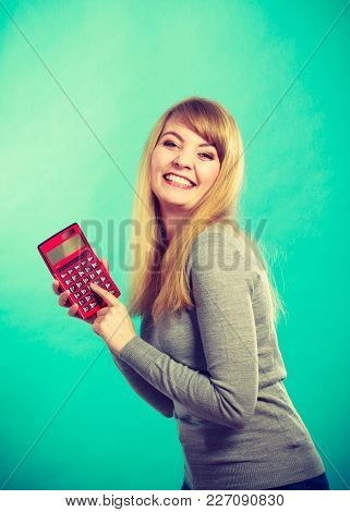 Advantages And Disadvantages Of Relationship. Young Blonde Attractive Lady Calculate Percentage Prov
