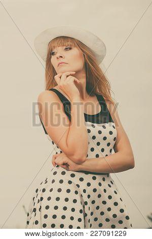 Young Beautiful Caucasian Woman Retro Styling Wearing Polka Dot Dress Hat Outdoor