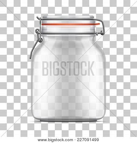 Vector Empty Bale Glass Jar With Swing Top Lid And A Rubber Gasket Isolated On Transparent Backgroun
