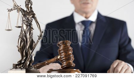 Lawyer On Bright Background. Attorney At Law Concept. White Collar Business.