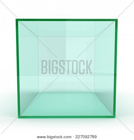 Empty Exhibition Box with White Background. 3D Illustration.