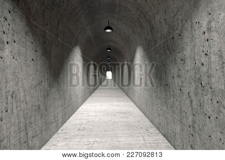 Long Narrow Concrete Corridor with Lamps Hanging from Ceiling. 3D Illustration.