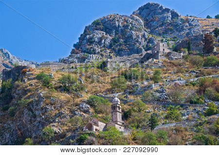 Fortification With Church Along Mt Lovcen At Kotor In Montenegro