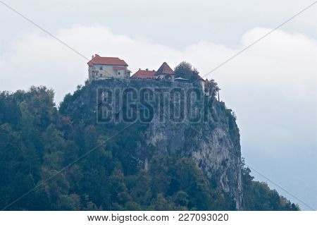 Bled Castle Is A Medieval Castle Built On A Precipice Above The City Of Bled In Slovenia, Overlookin