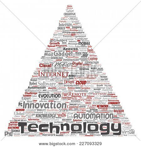 Conceptual digital smart technology, innovation media triangle arrow word cloud isolated background. Collage of information, internet, future development, research, evolution or intelligence