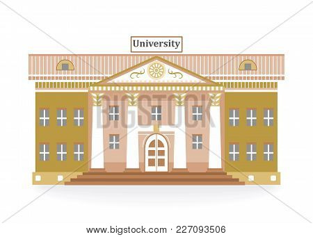 Illustration In The Style Of A Flat Design On The Theme Of Architecture With The Building Of The Uni