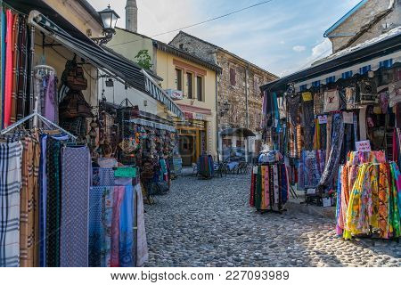 Bosnia And Herzegovina, Mostar - June 1/2017: Sellers Sell Their Products On The Market.