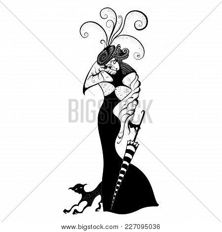 Woman In Elegant Dress With Black Cat And Striped Umbrella