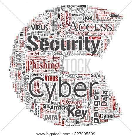 Conceptual cyber security online access technology letter font C word cloud isolated background. Collage of phishing, key virus, data attack, crime, firewall password, harm, spam protection