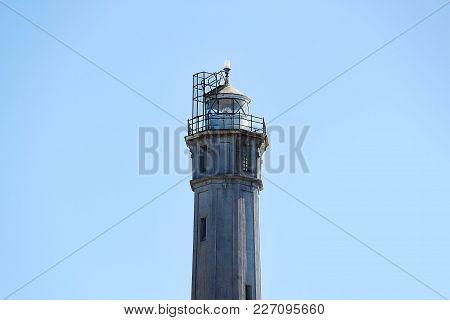 Lighthouse Prison Alcatraz  On Blue Sky Background Isolated,. Nice Background.