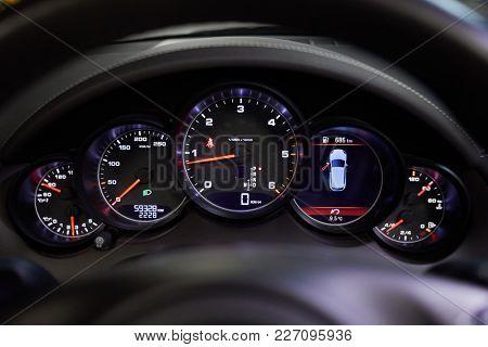 Dashboard in cabin of modern car.