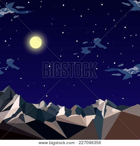 Stock Vector Illustration Horizontal Background Mountain Landscape In Flat Style At Night, Stars, Bi