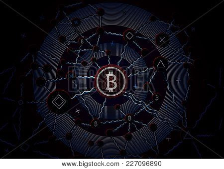 Bitcoin Security Business Background. Bitcoin Crypto Mining Data Visualization. Business Wallet Sche