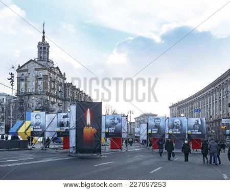 Kiev, Ukraine, Independence Square, February 17, 2018. Preparation For The Celebration Of The Annive