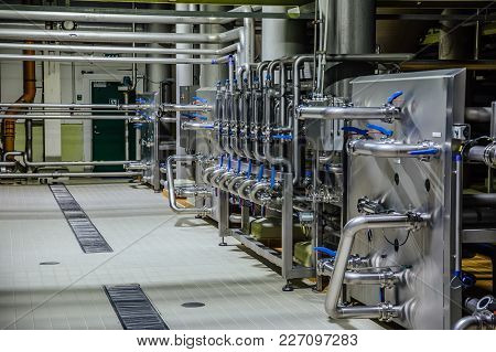 Pipeline And Valve System In Brewery For Components Transportation.