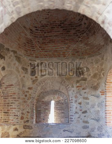Castle Of Belmez Semi-cylindrical Tower Indoor, Cordoba, Spain. Situated On The High Rocky Hill Over