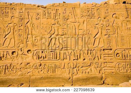 Hieroglyphs On A Wall At The Karnak Temple, Egypt