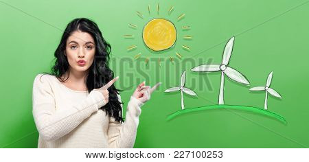 Windmills With Young Woman On A Green Background