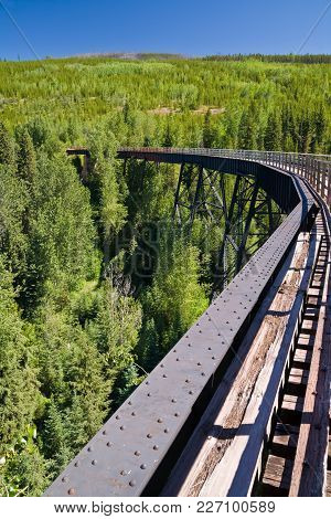 Train Trestle On The Kettle Valley Railway Near Kelowna, British Columbia, Canada