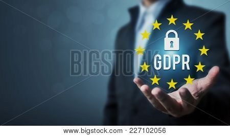 Businessman Hand Holding Sign General Data Protection Regulation (gdpr) And Key Icon
