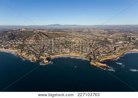 Aerial view of Mussel Cove on the Orange County coast in South Laguna Beach California.
