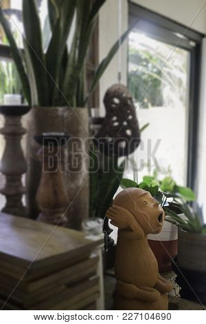 Room Decorated Of Clay Pottery Monkey, Stock Photo