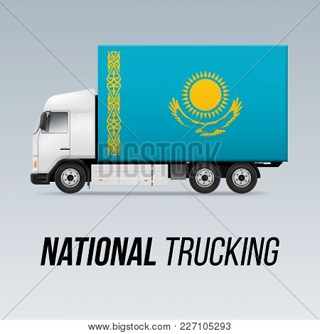 Symbol Of National Delivery Truck With Flag Of Kazakhstan. National Trucking Icon And Kazakh Flag