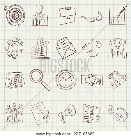 Vector Business Icons Line Art Drawing Ilustration