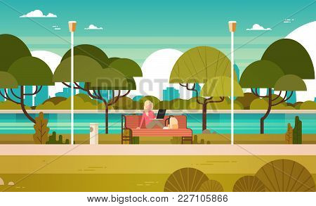 Young Girl In Park Working On Laptop Computer Outdoors Sitting On Bench Flat Vector Illustration