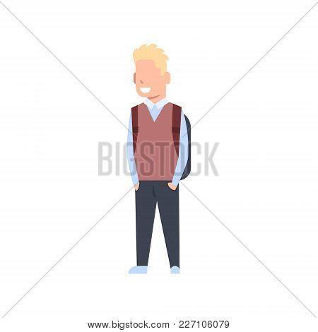 School Boy With Backpack Schoolboy Pupil Kid Wearing Uniform Isolated Flat Vector Illustration