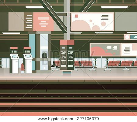 Train Station Interior Empty Platform With No People Transport And Transportation Concept Flat Vecto