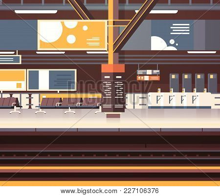 Train Station Interior Background Empty Platform Subway Or Railway With No Passengers Transport And