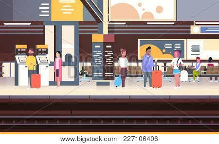 Railway Station Interior With People Passengers Waiting For Train Holding Bags Transport And Transpo