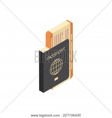 Passport With Tickets Icon Isometric Isolated Travel Concept Vector Illustration