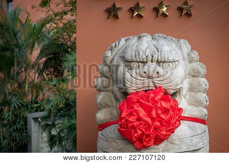 A Chinese Guardian Lion Dressed Up For Chinese New Year
