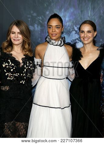 Tessa Thompson, Natalie Portman and Jennifer Jason Leigh at the Los Angeles premiere of 'Annihilation' held at the Regency Village Theater in Westwood, USA on February 13, 2018.
