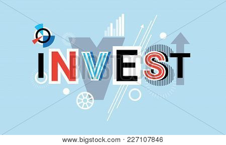 Invest Business Investment Creative Word Over Abstract Geometric Shapes Background Web Banner Vector
